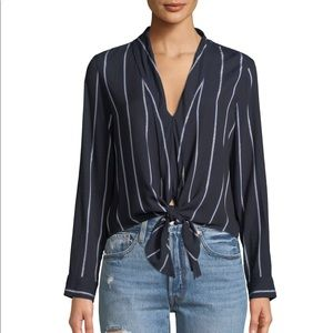 RAILS Ava Striped Tie-Front Blouse
